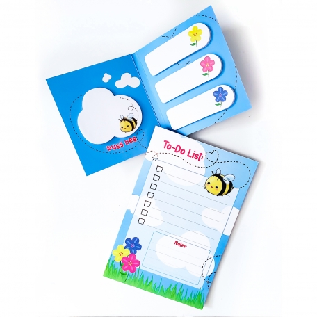 Kawaii Busy Bee Stationery | Bee Sticky Note Set & 4x6 Inch To-Do List Notepad