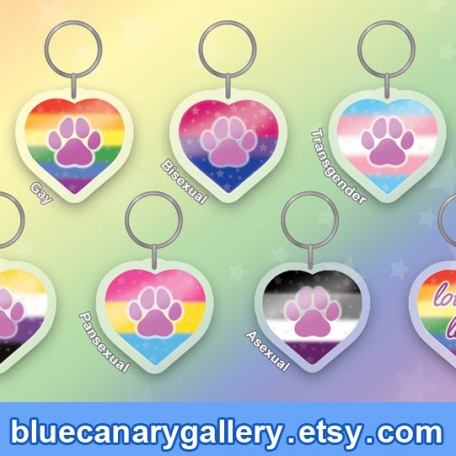 """Acrylic Charms (2"""" Pride Shimmering Hearts)"""