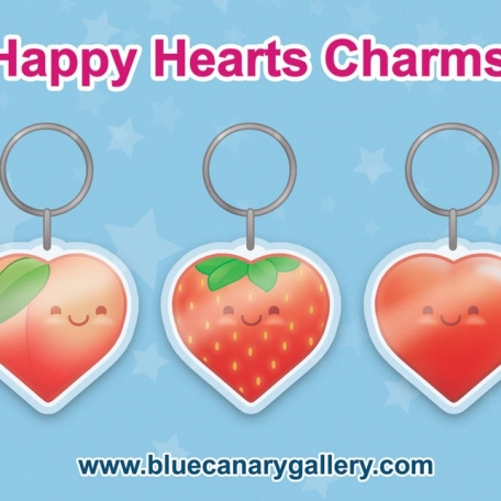 """Acrylic Charms (2"""" Happy Shimmering Hearts)"""