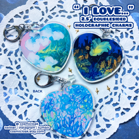 I Love... ( ocean, plants, crystals ) Keychains   Holographic