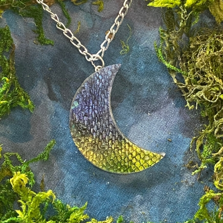 Moon Pendant with Real Snake Shed from Narcissa the Green Tree Python