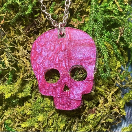 Large Skull Pendant with REAL Snake Shed from Snek the Rainbow Boa
