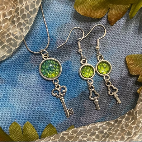 Oddities Jewelry Set Made with REAL Snake Shed from Narcissa the Green Tree Python